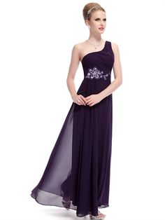 Purple One Shoulder Sheath Beaded Waist Cheap Chiffon Long Bridesmaid Dress Prom Dress