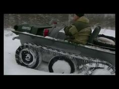 Тест-драйв вездехода Охотец - подъем в горку по глубокому снегу