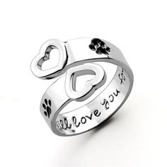 I Will Love You Forever Heart Paw Print Ring Adjustable