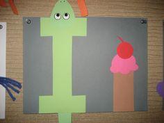 """Ii"" Letter of the week art project: iguana ice cream Alphabet Letter Crafts, Childrens Alphabet, Abc Crafts, Alphabet Book, Preschool Crafts, Letter Art, Letter I Activities, Preschool Letters, Alphabet Sounds"