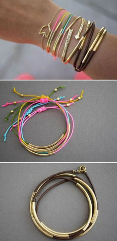 These bracelets are produced in a combination of materials and metal and it looks very nice. If you are making them, parts made of metal or plastic you'll find in specialized shops where people sale parts for making jewelry. Possible is also a combination of rubber and silver, rubber – gold, rubber and some metal …