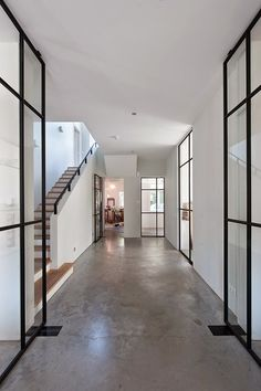This house by Vocus Architects is really my cup of tea :-) Concrete floors, . Modern Interior, Interior Architecture, Interior And Exterior, Interior Design, Interior Doors, Casa Wabi, Steel Doors And Windows, Metal Doors, Flur Design