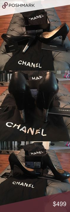 Chanel heels Stunning black leather with shiny front and logo stitched on side. Half of heels silver some scuffs on leather and worn soles and obviously has been worn but still in great shape looks amazing on for a night out. Very sexy heels. Size 9 but fits more like an 8 box and dust bag included but top of box is missing CHANEL Shoes Heels