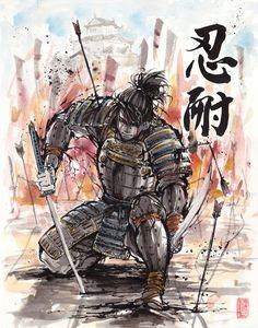 Samurai Sumi/watercolor Perseverance by MyCKs.deviantart.com on @DeviantArt