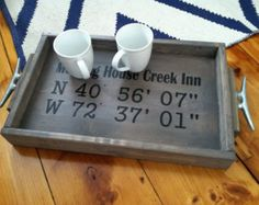 Custom GPS Coordinates Wooden Tray || Rustic || plus additional text