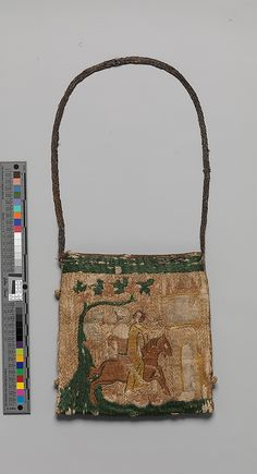 Purse with scenes from the story of Patient Griselda Date: century Culture: French Medium: Silk and metal thread on canvas Dimensions: Overall: 6 x 5 x Classification: Textiles-Embroidered Vintage Purses, Vintage Bags, Vintage Handbags, Vintage Outfits, Vintage Shoes, Medieval Life, Medieval Art, Historical Costume, Historical Clothing