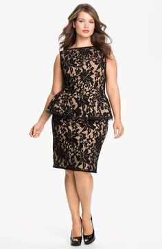 Tadashi Shoji Lace Peplum Dress (Plus Size) available at #Nordstrom