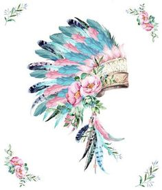 Indian Headdress Tattoo, Feather Headdress, Image Tatoo, Feather Blanket, Indian Feathers, Feather Art, Pink Turquoise, Native American Art, Watercolor Art