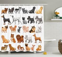 Amazon.com: Ambesonne Dog Lover Decor Collection, Row of Hungry Dogs Tongue Sticking Out Behind A Wall of Wood Lunch Time Art, Polyester Fabric Bathroom Shower Curtain Set with Hooks, Camel White: Home & Kitchen