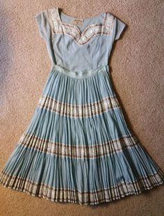 Vintage 1950's Blue Square Dance Dress Swing Patio Circle Skirt & Top BEAUTIFUL #BoMarHandicraftsOfScottsdaleAZ Dance Dresses, Summer Dresses, Fiesta Dress, Blue Square, Swing Dress, Vintage Dresses, Vintage Patio, Patio Sets, Square Dance