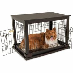 Petmate 2-Door Indoor Wood and Wire Kennel -- really nice looking kennel