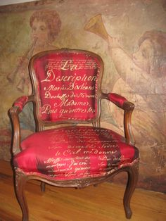 Carolyn Quartermaine French Script Silk on antique French chair....antique hand painted Italian fresco...