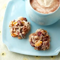 Fruitcake Macaroons Dried fruit, coconuts, chocolate, and pecans are all packed into this hearty cookie.
