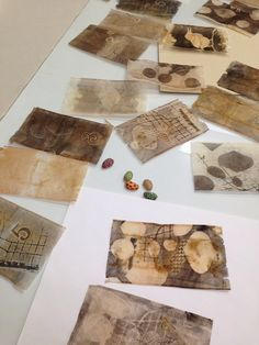 Monotype on used tea bags. by laura Monotype on used tea bags. by laura Tea Bag Art, Tea Art, Mixed Media Collage, Collage Art, Inspiration Drawing, Used Tea Bags, Gelli Plate Printing, Creation Art, Encaustic Art