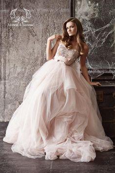 Blush wedding dresses. http://www.mydreamlines.com/2017/01/blush-wedding-dresses/ #blushweddingdresses #blushweddingdress