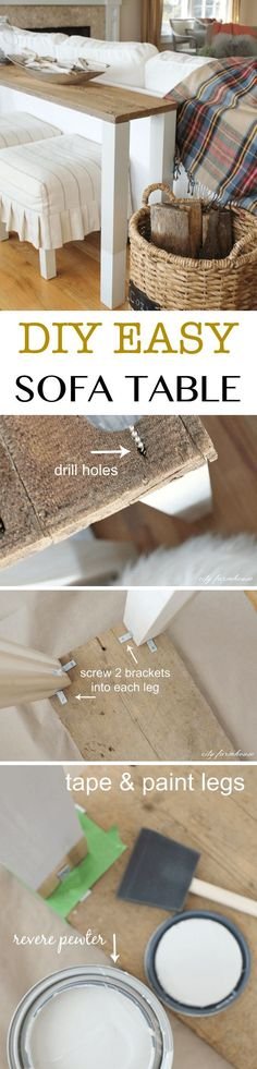 Easy DIY Reclaimed Wood Sofa Table // Fill the space behind the sofa with this easy DIY table in rustic style.