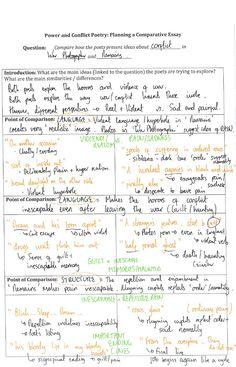 Example Poetry Comparison Plan English Gcse Revision, Gcse English, Ap English, English Literature, Too Cool For School, School Stuff, Poem Analysis, Essay Plan, Essay Questions
