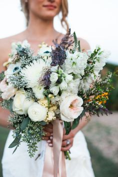 Flowers Wedding Inspiration- Peachy-pink, white, lavender, and green- no yellow