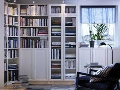 trendy home library ikea built ins Home Library Design, Home Office Design, House Design, Design Desk, Inspiration Ikea, Ikea Bookcase, Bookcase White, Billy Regal, Library Furniture
