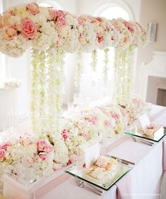 Pink & White Floral-Tablescape www.tablescapesbydesign.com https://www.facebook.com/pages/Tablescapes-By-Design/129811416695