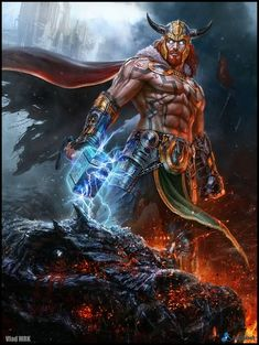 The REAL Thor! In Norse mythology Thor is really a redhead - not blond. Poster Superman, Posters Batman, Batman Vs, Tattoo Odin, Fantasy Warrior, Fantasy Art, Comic Books Art, Comic Art, Thor Norse