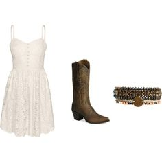 white lace dress and cowboy boots <3 bought them and can't wait to wear it!