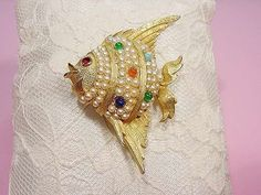 Vintage Angel Fish Pin Colored Glass Cabochons Rhinestone Faux Pearls Boucher ?