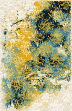 Covor Coral 6 Yellow / Blue, Tesut mecanic #homedecor interiordesign #inspiration #design #decor #livingroomdecor #bedroomdecor Living Room Decor, Bedroom Decor, Coral, Ron, I Wallpaper, Texture Design, Yellow, Blue, Tropical