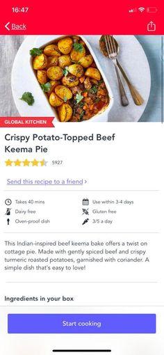 #Gousto crispy potato beef Keema pie #pie #keema #beef Beef Keema, Dairy Free, Gluten Free, Spiced Beef, Pie Pie, Cottage Pie, Crispy Potatoes, Oven, Meals