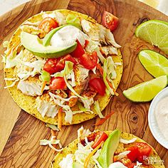 Fish Tostadas with Chili Lime Cream ~ A perfect, healthy dinner recipe that costs just over $2 per serving, and is ready in under 30 minutes!