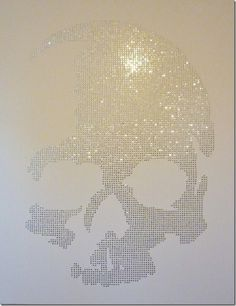 "My art reflection - 57"" x 45"" sequins on canvas skull art. Read about it on my blog  :-)"