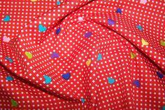 Baumwoll Vichy Karo Konfetti Herzen Deko Patchwork Quilt Stoff rot bunt mini