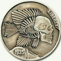 "Hobo Nickel Coin 1935 Buffalo ""Piranha"" Engraved 2+2 Work Studio Amish Men, Indian Skull, Fruit Bat, Hobo Nickel, Coin Art, Commemorative Coins, Dollar Coin, Morgan Silver Dollar, Half Dollar"