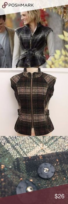 🍁Tweed wool blend fall vest with self belt Dark great green and cream plaid vest with self belt that snaps in the back, or can be tied in the front. Never worn. No tags. Zip up front. Leather-like trim. Wool blend. M CAbi Jackets & Coats Vests