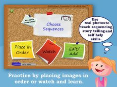 Making Sequences app, can upload your own images and pair with voice recordings to teach daily living skills or short social stories. Speech Language Pathology, Speech And Language, Cognitive Therapy, Occupational Therapy, Have Fun Teaching, Teaching Kids, Self Help Skills, Story Sequencing, School Fun