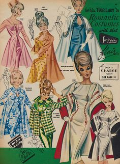 Spring 1966 Frederick's of Hollywood catalog early sheath dress mid era white pink gold blue floral matching coat plaid dots Vintage Outfits, Robes Vintage, Vintage Lingerie, Vintage Dresses, 60s Dresses, Vintage Clothing, Moda Vintage, Vintage Mode, Vintage Ladies