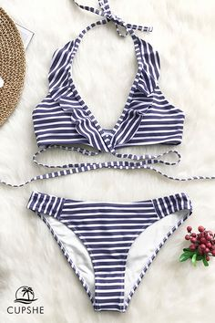 7fe9c39c10 A classic print that never goes out of style. The Purple and White Stripe  Bikini