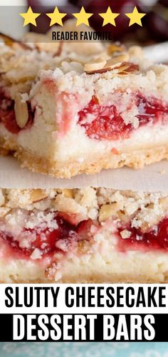 Slutty Cheesecake bars recipe Slutty Cheesecake bars recipe with cream cheese, cherry filling, and a cookie crumble square really get around. Don't apologize when you ask for seconds (and the recipe) of this perfect cherry jubilee cheesecake bar dessert Dessert Simple, Bon Dessert, Easy Dessert Bars, Quick Dessert, Cherry Desserts, Easy Desserts, Dessert Recipes, Easy Cream Cheese Desserts, Strawberry Cream Cheese Dessert