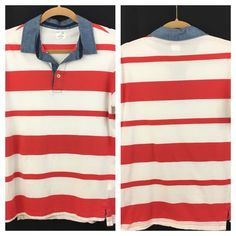 Gap Slim Fit Cotton Polo Shirt Short Sleeve 3-button Mens Medium Red White Blue #Gap #PoloRugby