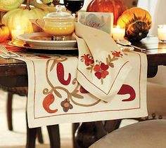 Perfect For Your Thanksgiving Table! Harvest Suzani Embroidered Table Runner  #potterybarn #TheRyanDifference #