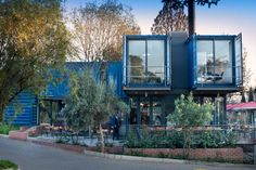 A coffee shop built with shipping containers