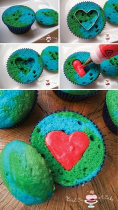 Earth Day Cupcakes Here's a completely different concept for the surprise-inside heart; use red frosting instead of twice baked heart shaped mini cakes. How sweet!
