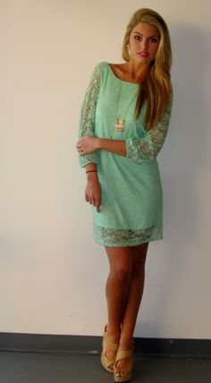 Mint Lace Dress. Rehearsal dinner or brunch for you!?