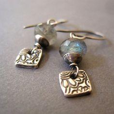 Sale Today Only Labradorite Fine Silver Earrings Gemstone Metal Clay Dangle Handmade Jewelry Cuff Earrings, Gemstone Earrings, Silver Earrings, Mixed Metal Jewelry, Metal Clay Jewelry, Handcrafted Jewelry, Earrings Handmade, Precious Metal Clay, Beautiful Earrings