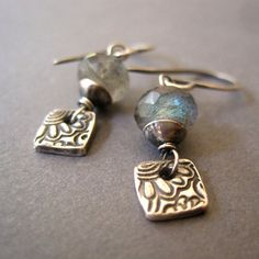 Sale Today Only Labradorite Fine Silver Earrings Gemstone Metal Clay Dangle Handmade Jewelry Diy Earrings, Gemstone Earrings, Earrings Handmade, Silver Earrings, Mixed Metal Jewelry, Metal Clay Jewelry, Precious Metal Clay, Beautiful Earrings, Handcrafted Jewelry