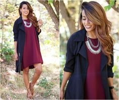 Image result for burgundy dress with statement necklace