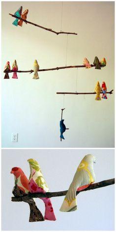 DIY fabric and wood bird mobile