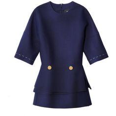 Derek Lam Navy Peplum Top ($1,490) ❤ liked on Polyvore featuring tops, blue, navy top, derek lam, navy blue top, layered tops and blue peplum top