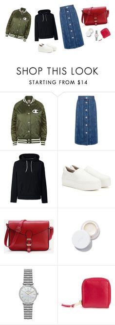 """Untitled #4826"" by memoiree ❤ liked on Polyvore featuring Champion, M.i.h Jeans, Lands' End, Opening Ceremony, rms beauty, Gomelsky and Comme des Garçons"