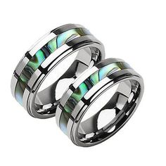 Silver Tungsten Matching Wedding Bands, Abalone Inlay, 2-Ring Set, His and Her's 33.84